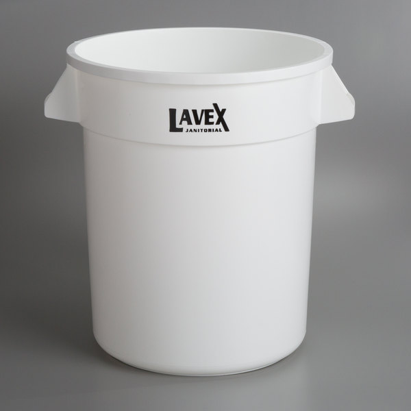 Lavex Janitorial 20 Gallon White Round Ingredient Bin / Commercial Trash Can