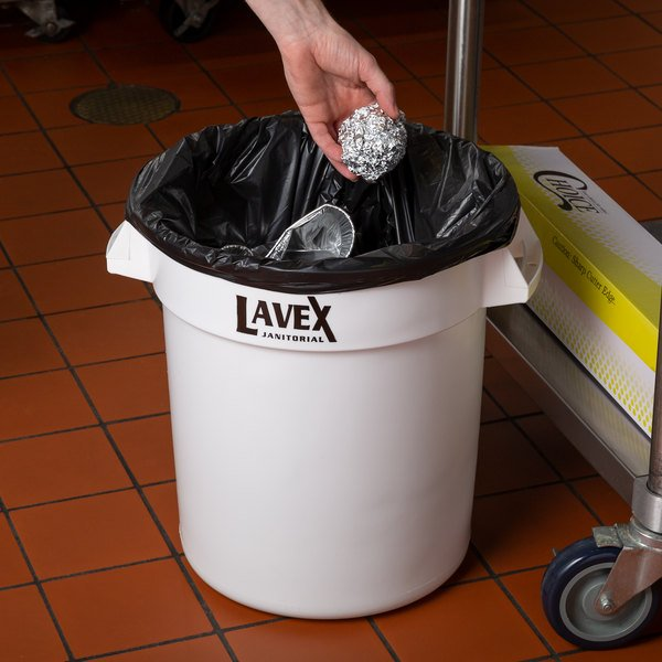 Lavex Janitorial 10 Gallon White Round Commercial Trash Can Main Image 2