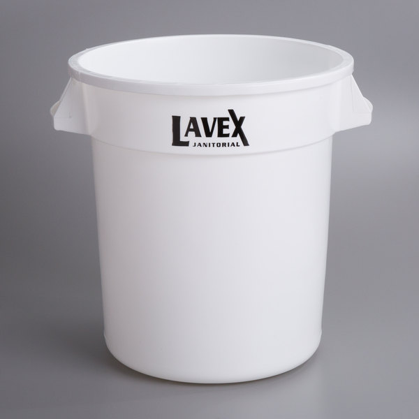 Lavex Janitorial 10 Gallon White Round Ingredient Bin / Commercial Trash Can