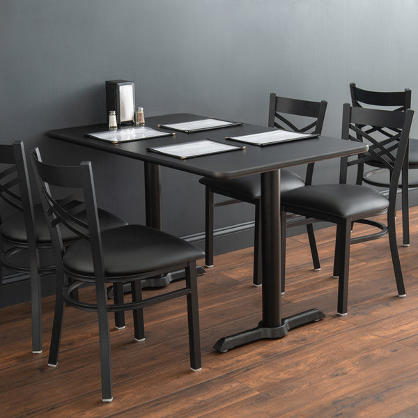 """Lancaster Table & Seating Standard Height Table with 30"""" x 48"""" Reversible Cherry / Black Table Top and Straight Base Plates Main Image 4"""