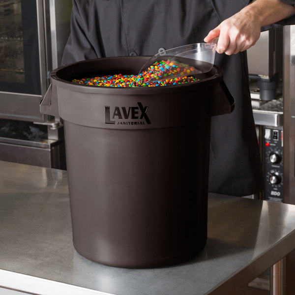 Lavex Janitorial 10 Gallon Brown Round Commercial Trash Can