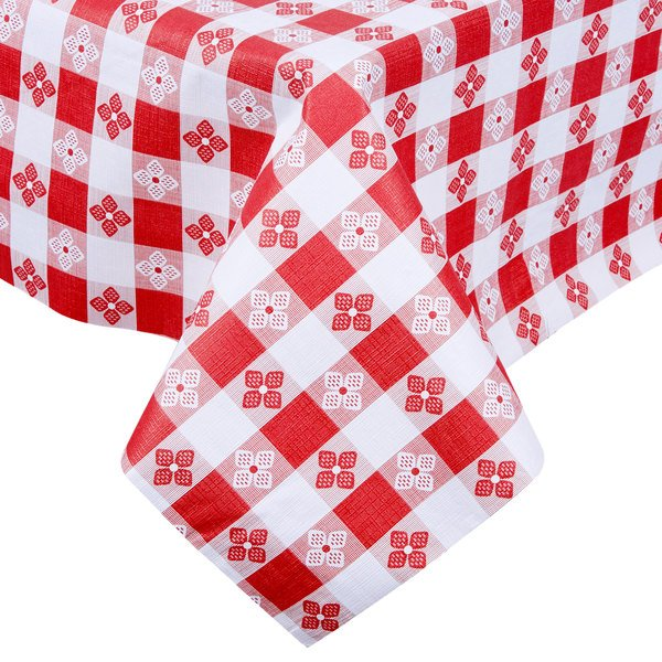 225 & Intedge Red Checkered Gingham Vinyl Table Cover with Flannel Back 25 Yard Roll