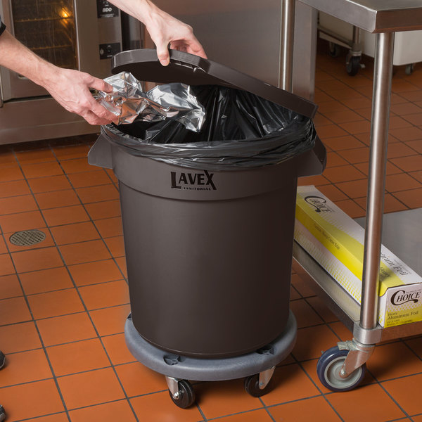 Lavex Janitorial 20 Gallon Brown Round Commercial Trash Can with Lid and Dolly Main Image 3