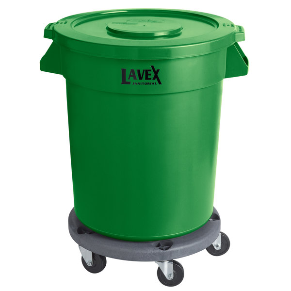 Lavex Janitorial 20 Gallon Green Round Commercial Trash Can with Lid and  Dolly