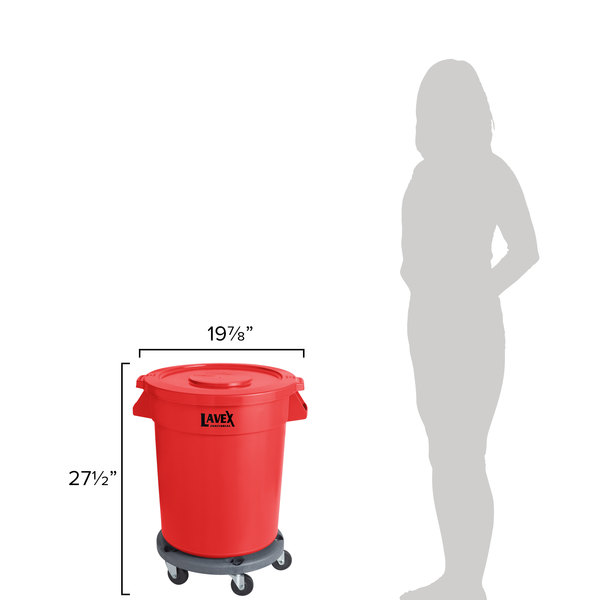 Lavex Janitorial 20 Gallon Red Round Commercial Trash Can with Lid and Dolly