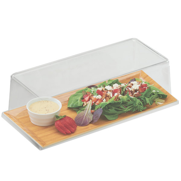 """Cal-Mil 3654-60M-SET 6 1/2"""" x 13 3/4"""" Bamboo Melamine Tray with Cover"""
