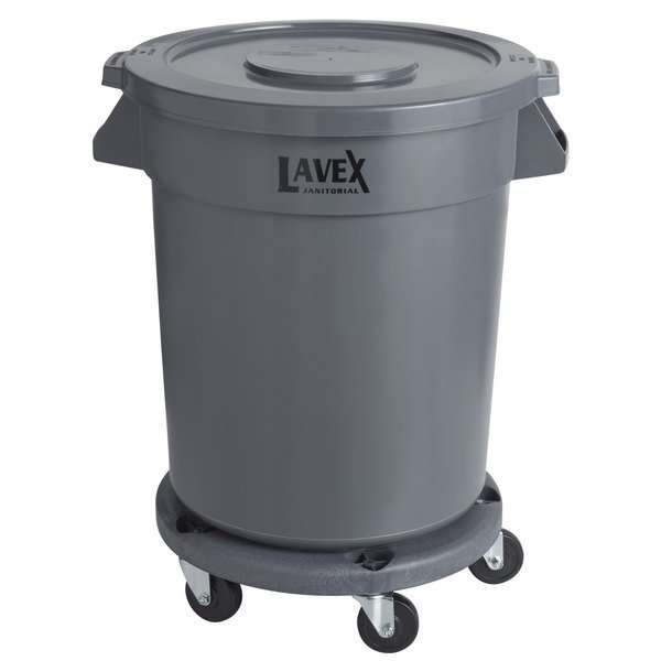 Lavex Janitorial 20 Gallon Gray Round Commercial Trash Can with Lid and Dolly
