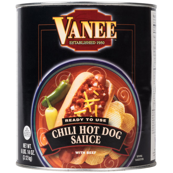 Vanee 390I #10 Can Chili Hot Dog Sauce - 6/Case