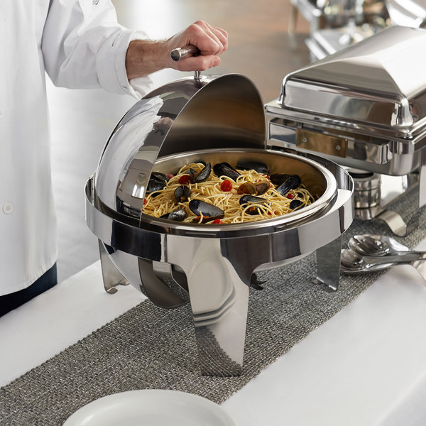 Choice Supreme 6.5 Qt. Round Stainless Steel Roll Top Chafer with Chrome Trim Main Image 3