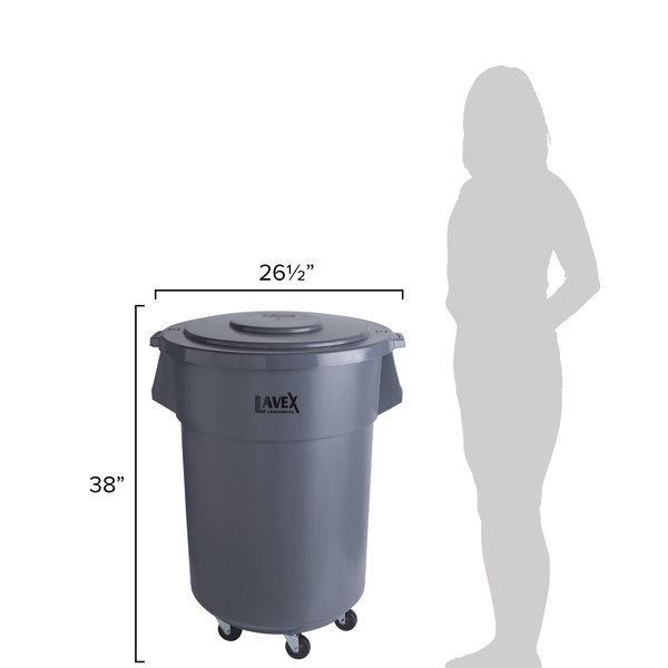 Lavex Janitorial 55 Gallon Gray Round Commercial Trash Can with Lid and  Dolly