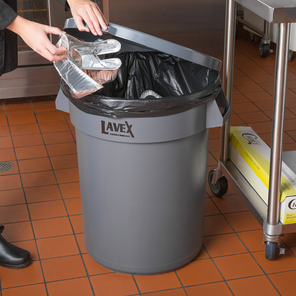 Lavex Janitorial 32 Gallon Gray Round Commercial Trash Can and Lid Main Image 2
