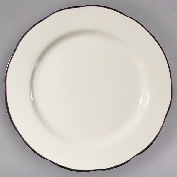 """CAC SC-8B 9"""" Scalloped Edge Ivory (American White) Seville China Plate with Black Band - 24/Case"""