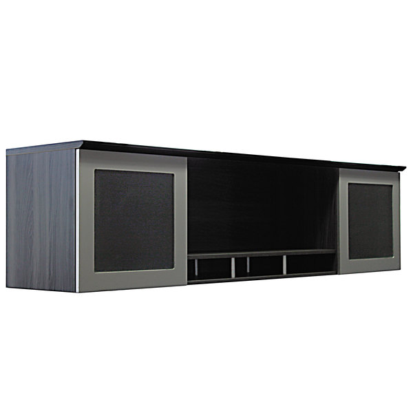 """Safco MNH72LGS Medina Gray Steel Laminate Hutch with Two Glass Doors and Two Open Compartments - 72"""" x 15"""" x 18 1/4"""" Main Image 1"""