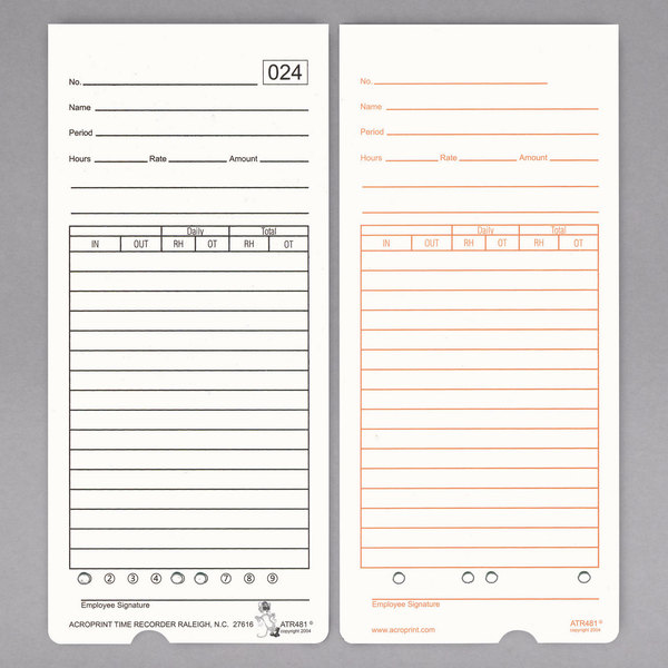 acroprint 099115000 time card for atr480 time clock 50pack - Time Card Clock