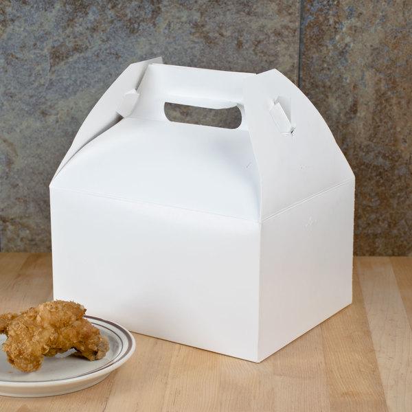 "Southern Champion 2715 9 1/16"" x 7 1/16"" x 5"" White Barn Take Out Lunch Box / Chicken Box - 125/Case"