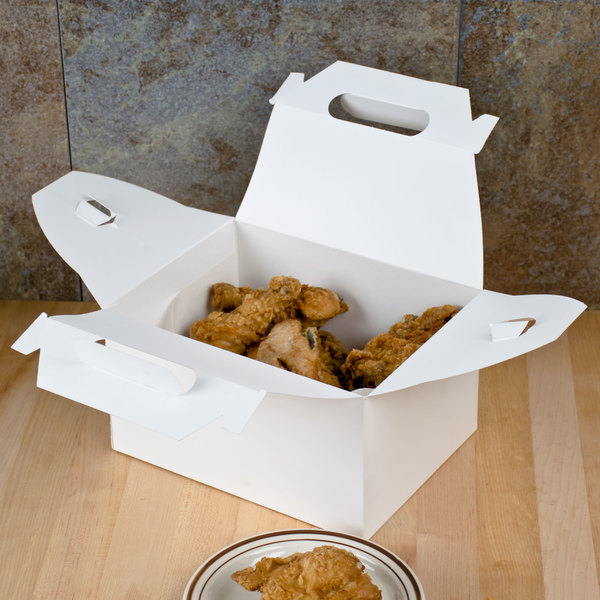 "9 1/16"" x 7 1/16"" x 5"" White Barn Take Out Lunch Box / Chicken Box - 125/Case Main Image 4"
