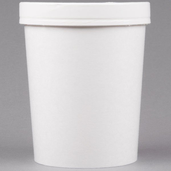 Huhtamaki Chinet 71846 32 oz. Double-Wall Poly White Paper Soup / Hot Food Cup with Vented Paper Lid - 250/Case