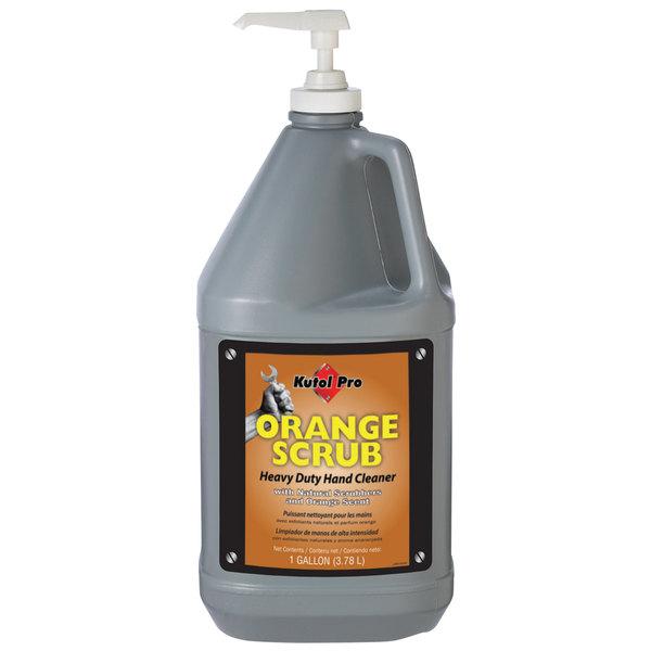 Kutol Pro 4902 Orange Scrub Heavy-Duty Hand Soap 1 Gallon with Pump - 4/Case Main Image 1