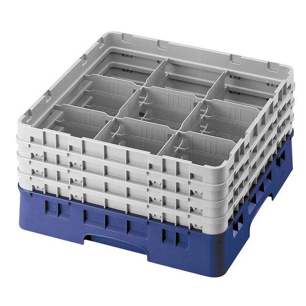"Cambro 9S434186 Blue Camrack Customizable 9 Compartment 5 1/4"" Glass Rack Main Image 1"