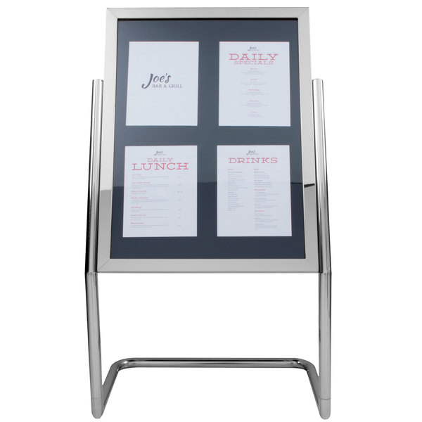 """Aarco P-15C Chrome 25"""" x 48"""" Double Pedestal Poster Stand Main Image 1"""