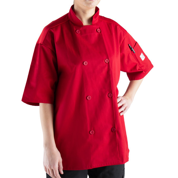 Mercer Culinary Millennia Air® M60019 Red Unisex Customizable Short Sleeve Cook Jacket with Full Mesh Back - XL Main Image 1