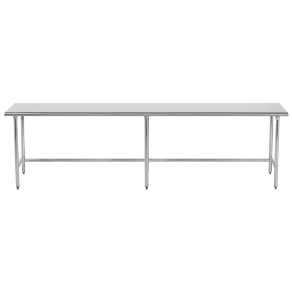 "Advance Tabco TGLG-4810 48"" x 120"" 14 Gauge Open Base Stainless Steel Commercial Work Table"
