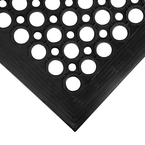 "Cactus Mat 2530-C5BX VIP TopDek Junior 3' x 5' Black Rubber Anti-Fatigue Floor Mat - 1/2"" Thick"