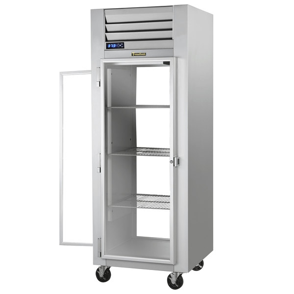 Traulsen G16015P Solid Front, Glass Back Door 1 Section Pass-Through Refrigerator - Left / Right Hinged Doors Main Image 1