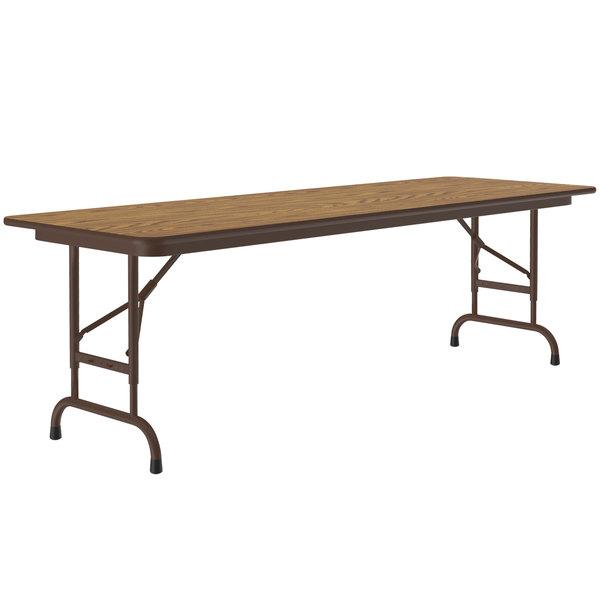 "Correll CFA2460M-06 24"" x 60"" Medium Oak Light Duty Melamine Adjustable Height Folding Table with Brown Frame Main Image 1"