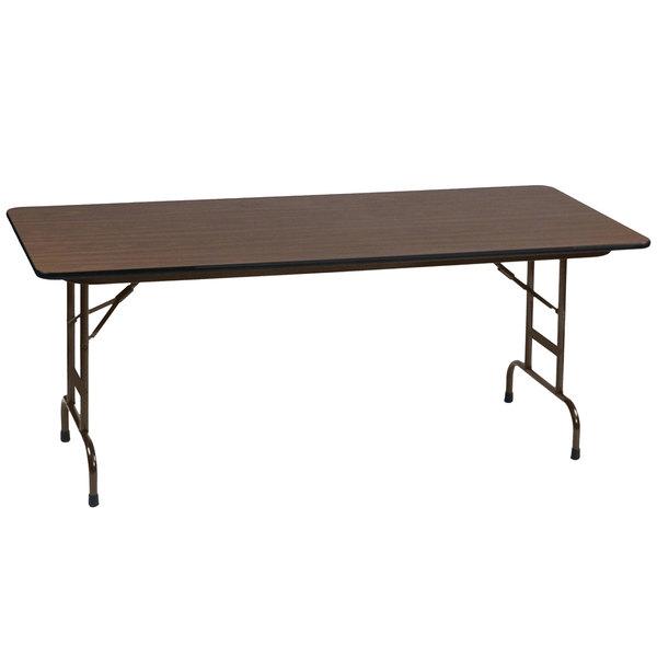 "Correll CFA2460M-01 24"" x 60"" Walnut Light Duty Melamine Adjustable Height Folding Table with Brown Frame"