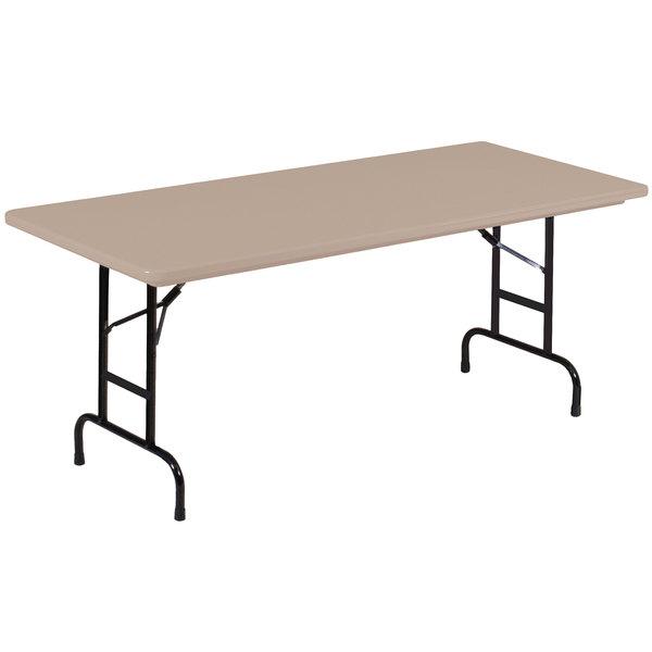 "Correll RA3072S-24 30"" x 72"" Rectangular Mocha Adjustable Height Heavy-Duty Blow-Molded Folding Table - 16"" to 26"" Height"