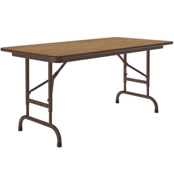 "Correll CFA2448M-06 24"" x 48"" Medium Oak Light Duty Melamine Adjustable Height Folding Table with Brown Frame Main Image 1"