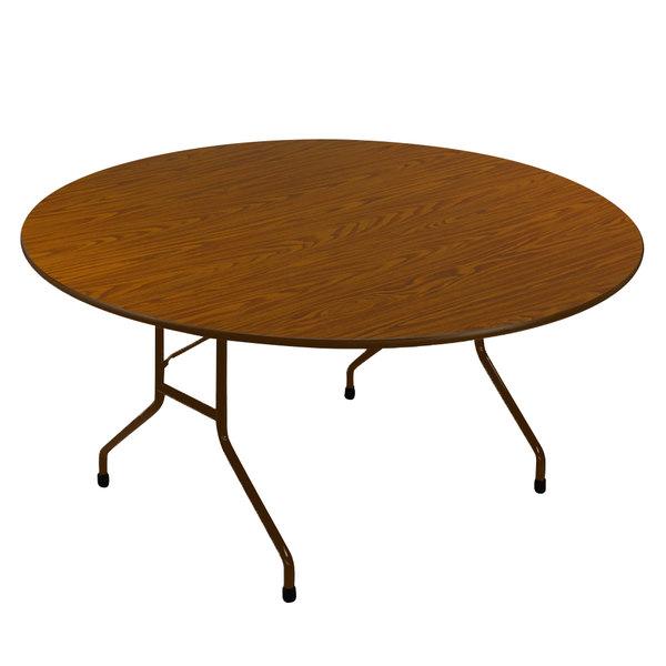 "Correll CF60P-06 60"" Round Medium Oak 5/8"" High Pressure Medium Duty Folding Table with Brown Frame Main Image 1"