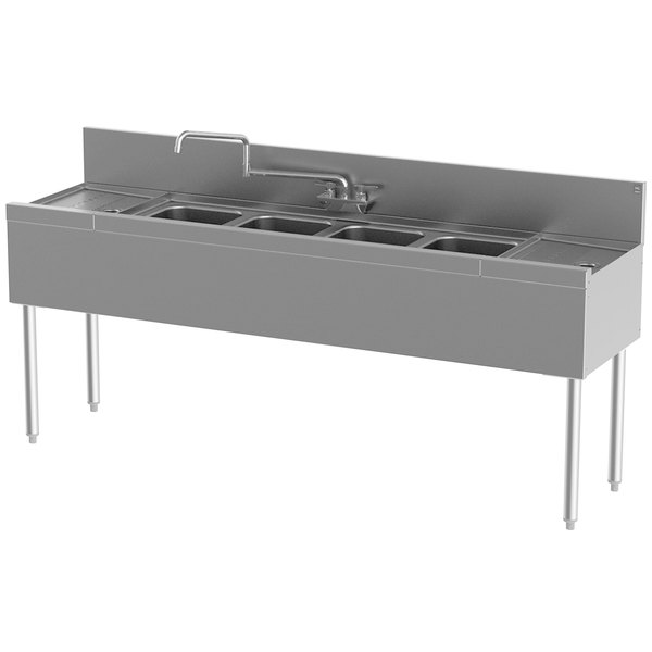 "Perlick TS64C Four Bowl Stainless Steel Underbar Sink with (2) 12"" Drainboards"