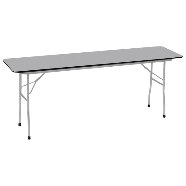 "Correll CF1896P-13 18"" x 96"" Dove Gray 5/8"" High Pressure Medium Duty Folding Table with Gray Frame Main Image 1"