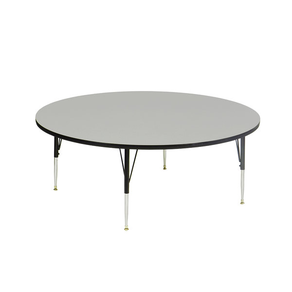 """Correll AM48-RNDS-15 EconoLine 48"""" Round 16"""" - 25"""" Gray Granite Adjustable Height Melamine Top Activity Table Main Image 1"""