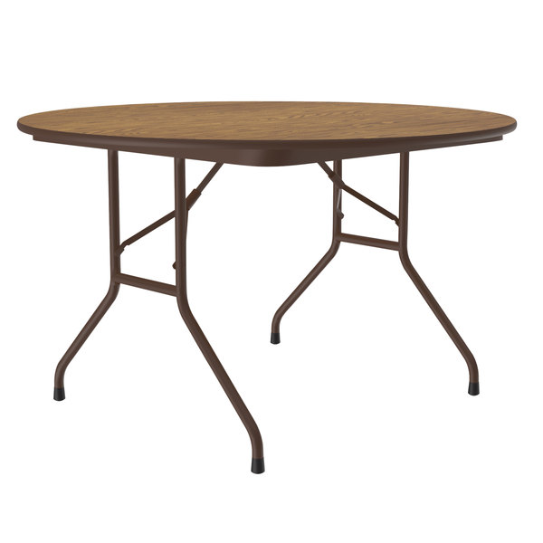 "Correll CF48MR-06 48"" Round Medium Oak Light Duty Melamine Folding Table with Brown Frame Main Image 1"