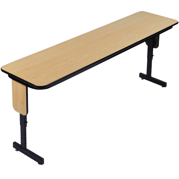 """Correll SPA1896PX-16 18"""" x 96"""" Fusion Maple Adjustable Height High Pressure Folding Seminar Table with Panel Legs"""