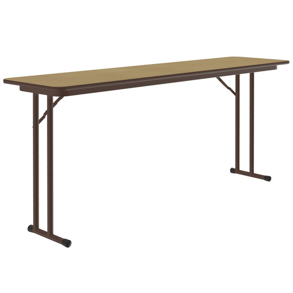 """Correll ST1896PX-16 18"""" x 96"""" Fusion Maple High Pressure Folding Seminar Table with Off-Set Legs Main Image 1"""