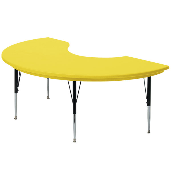 """Correll AR4872-KIDS-28 48"""" x 72"""" Kidney 16"""" - 25"""" Adjustable Height Yellow Blow-Molded Activity Table Main Image 1"""