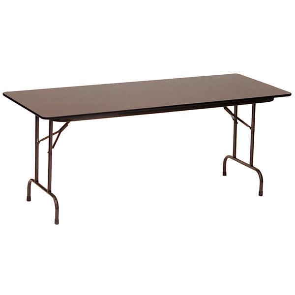 "Correll CF3696P-01 36"" x 96"" Walnut 5/8"" High Pressure Medium Duty Folding Table with Brown Frame Main Image 1"