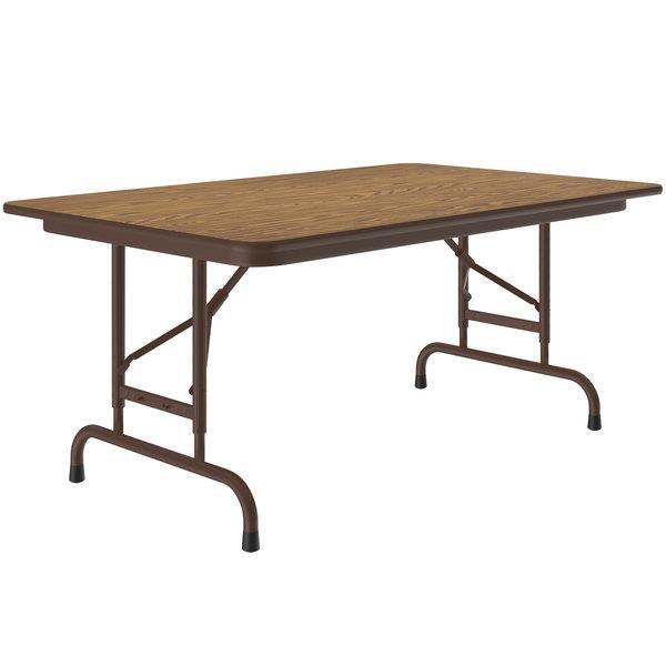 "Correll CFA3048M-06 30"" x 48"" Medium Oak Light Duty Melamine Adjustable Height Folding Table with Brown Frame Main Image 1"