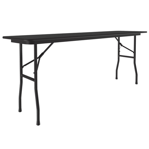 "Correll CF1872M-07 18"" x 72"" Black Granite Light Duty Melamine Folding Table with Black Frame Main Image 1"