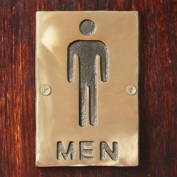 """Tablecraft 465635 Men's Restroom Sign - Bronze, 6"""" x 4"""""""