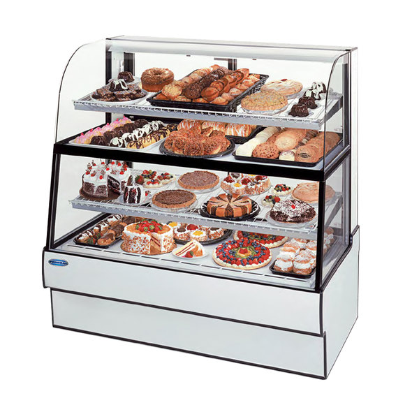 """Federal Industries CGR5960DZH 59"""" Curved Glass Horizontal Full Service Dual-Zone Dry / Refrigerated Bakery Display Case Main Image 1"""