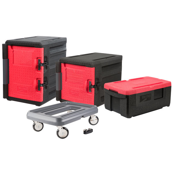 Metro Mightylite Insulated Pan Carrier Kit with Two Front Load Carriers, One Top Load Carrier, and Dolly