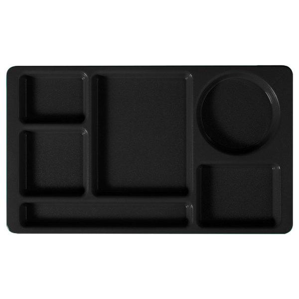 "Cambro 915CW110 Camwear (2 x 2) 8 3/4"" x 15"" Black Six Compartment Serving Tray - 24/Case"