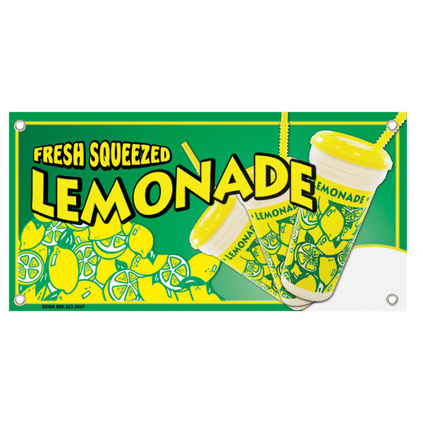 """12"""" x 24"""" Rectangular Concession Stand Sign with a Fresh Squeezed Lemonade Design Main Image 1"""