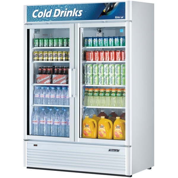 """Turbo Air TGM-47SD Super Deluxe Series 54"""" White Two Glass Door Refrigerated Merchandiser"""