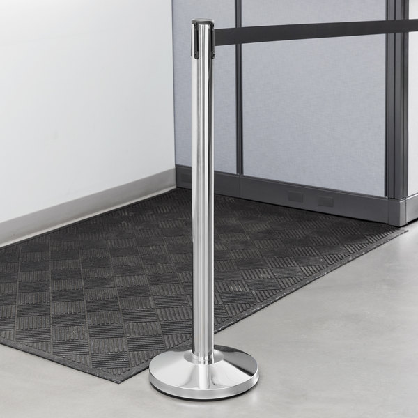 """Lancaster Table & Seating Chrome 40"""" Crowd Control / Guidance Stanchion with 10' Retractable Belt"""
